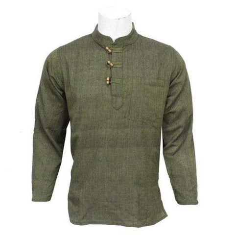 Olive Green Wooden Buttoned Kurta Shirt For Men / Women