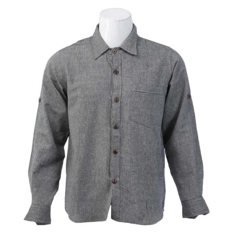 Gray Cotton Casual Shirt For Men