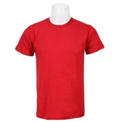 Red Solid Round Neck T-Shirt For Men / Women