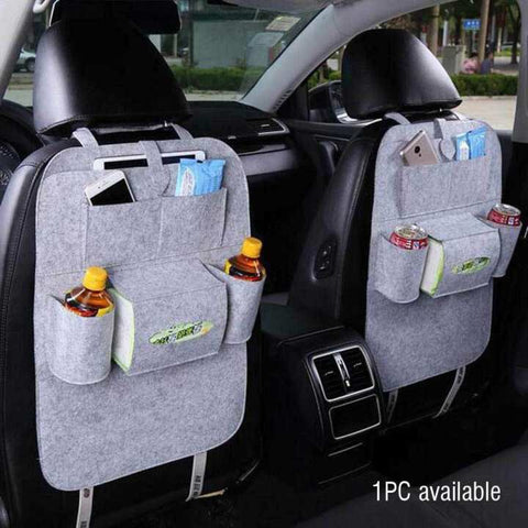 Vehicle Back Seat Mounted Hanging Organizer (Light grey)