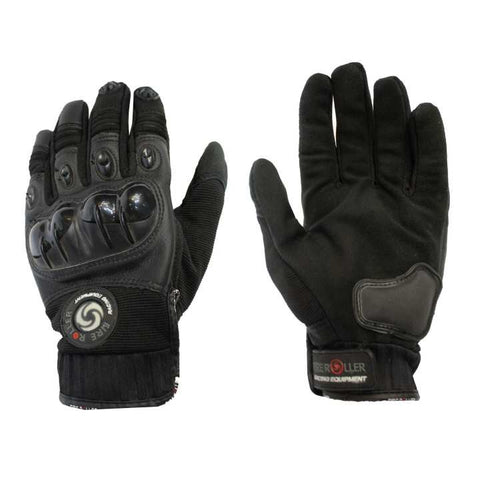 Black Hard Plastic Lock Full Finger Racing Gloves For Men