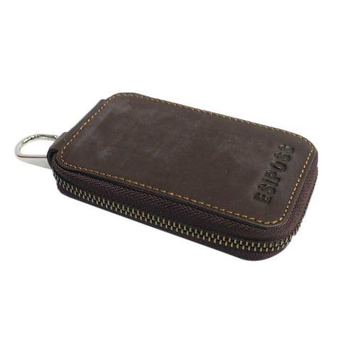 Wood Brown Esiposs Genuine Leather Key Holder