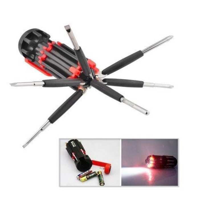 8 in 1 Multifunction Screw Driver Kit- 6 LED Torch Light Tools Set