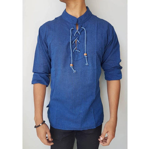Blue Dhori Kurta Shirt For Men