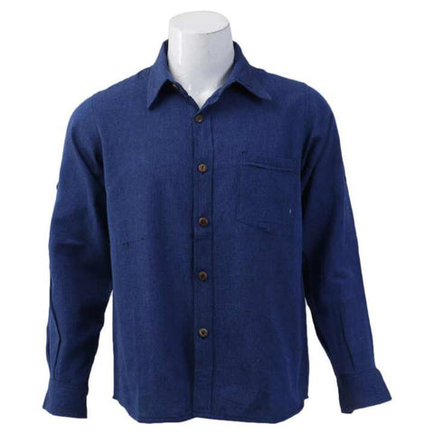 Blue Cotton Casual Shirt For Men