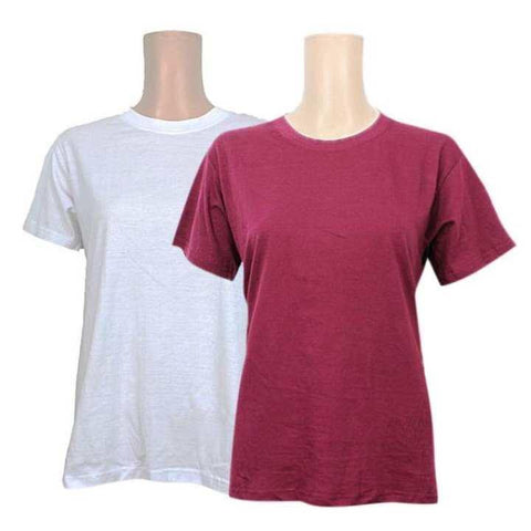 Pack Of 2 Cotton T-Shirt For Women -White/Maroon