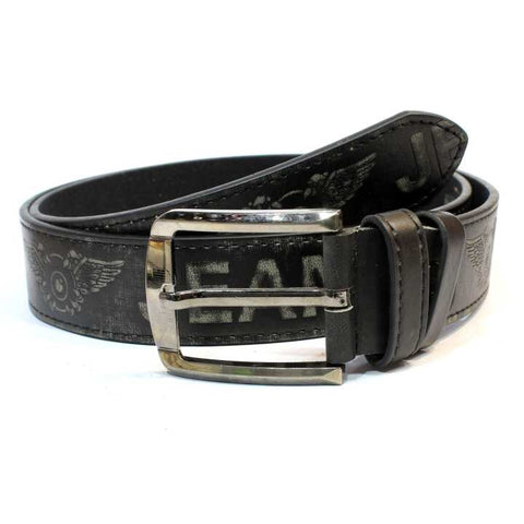 Grey Jeans Printed Belt For Men