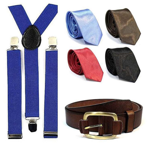 Combo Set of 4 Ties with Matching Suspender & Belt For Men- Multi-Color