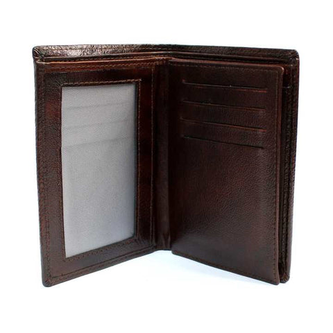 Brown Textured Bi-Fold Wallet For Men