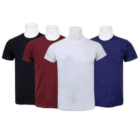 Pack Of Four Solid T-Shirt For Men-(Black/Maroon/White/Navy)