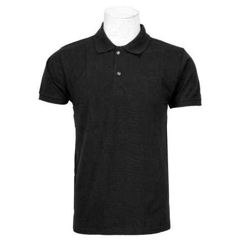 Black Solid Polo Neck 100% Cotton T-Shirt For Men