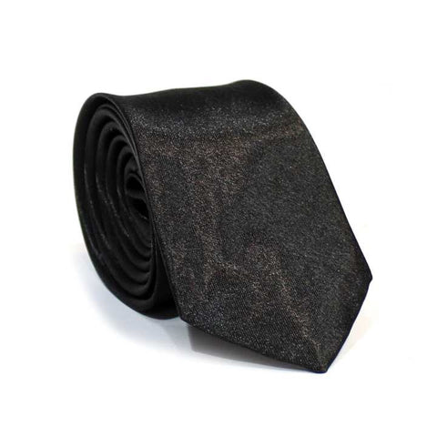 Black Solid Shiny Tie For Men