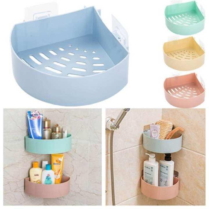 Holder Corner Storage Rack Shampoo Organizer Bathroom Shelf Up To 3kg