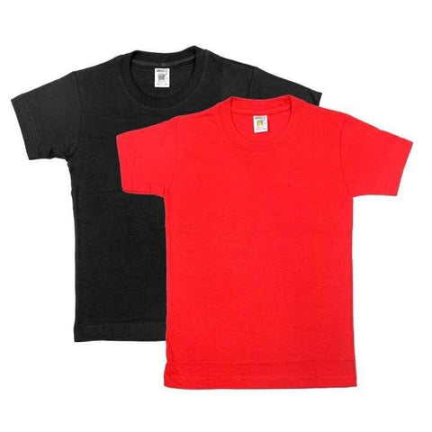 Pack Of Two Solid T-shirt For Boys - (Black/Red)