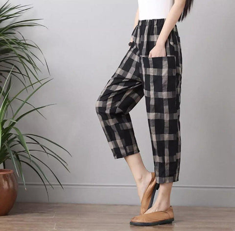 Women's cotton and linen plus size lattice easy pants