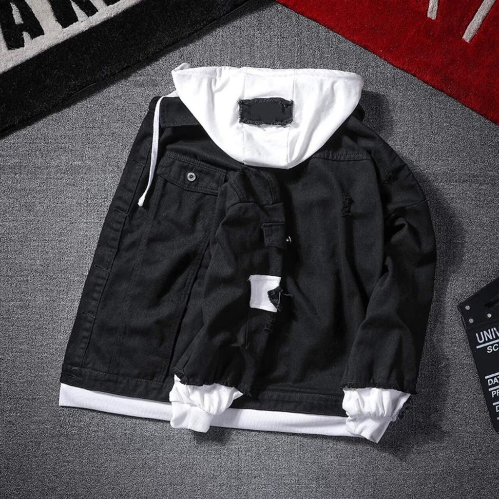 Autumn Trend hooded Denim Jacket black