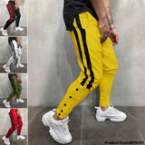 Yellow Designed Patchwork Lace-Up Men Casual Sport Pant