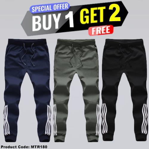 Combo Offer Buy 1 Gree 2 Free Designed Patchwork Lace-Up Men Casual Sport Pant