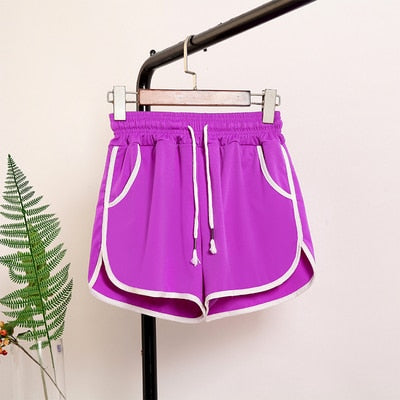 Plus Size High Waist Shorts Women Patchwork Body Fitness Workout Summer Shorts Female  Elastic Loose Casual Shorts