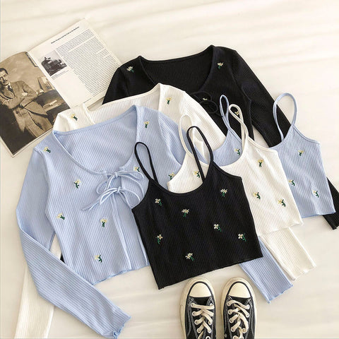 Summer Women Two Pieces Sets Floral Embroidery Bow Tie Cardigan + Short Slim Sling Vest Korean Sweet Outfits  V-Neck  Cardigans