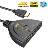 HDMI Switch 3 Port 4K HDMI Switch 3 in 1 Out with High Speed Switch Splitter Pigtail Cable Supports Full HD 4K 1080P 3D Player