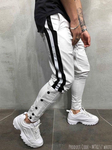 White Designed Patchwork Lace-Up Men Casual Sport Pant