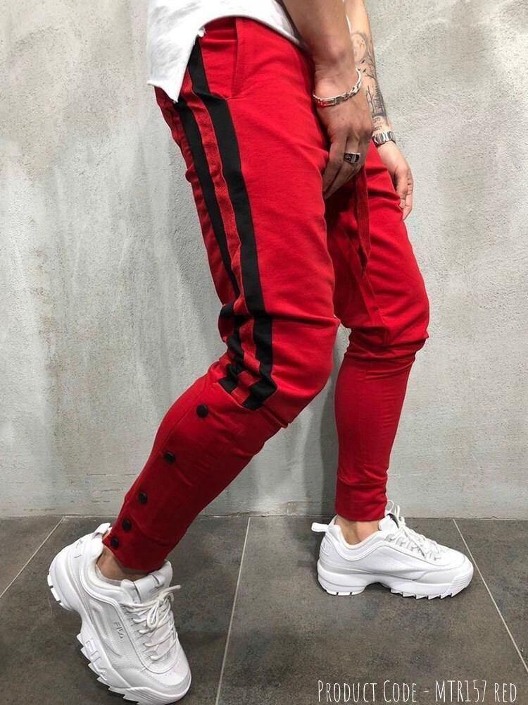 Red Designed Patchwork Lace-Up Men Casual Sport Pant