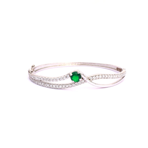 Ambrosial Greenstone Zirconia Sterling Silver Bangle Bracelet