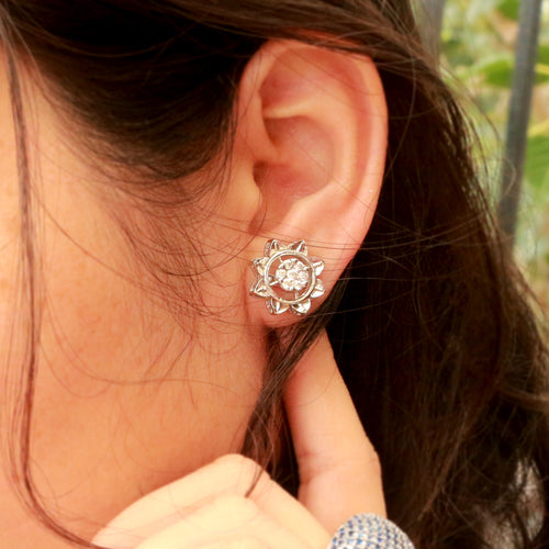Burgeon Silver Stud Earrings