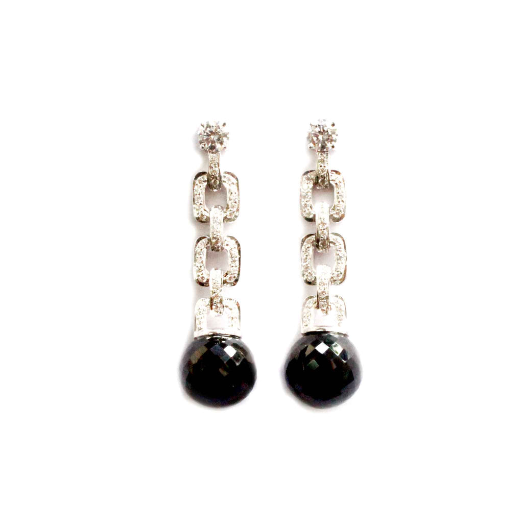 Clique Black Spinel Ball Drop Earrings - Boldiful