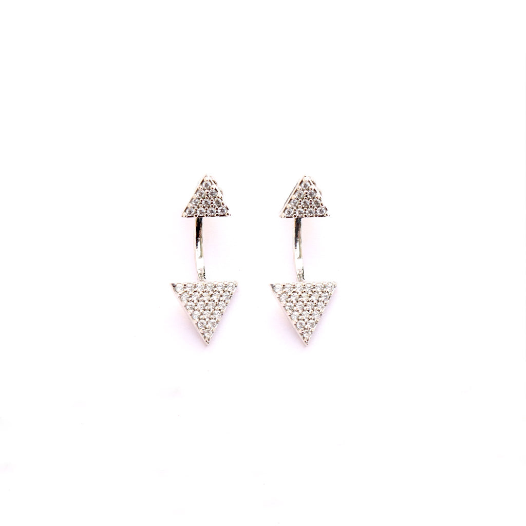 Cuneate Sterling Silver Ear Jacket Studs - Boldiful