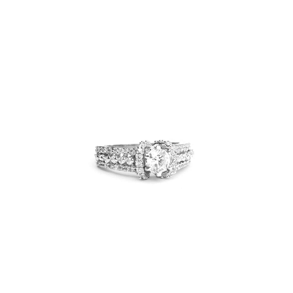 Dinky Solitaire Thin Silver Ring - Boldiful