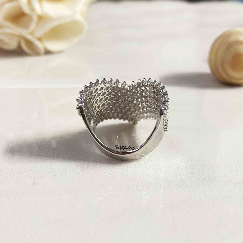 Edgy Cocktail Silver Ring