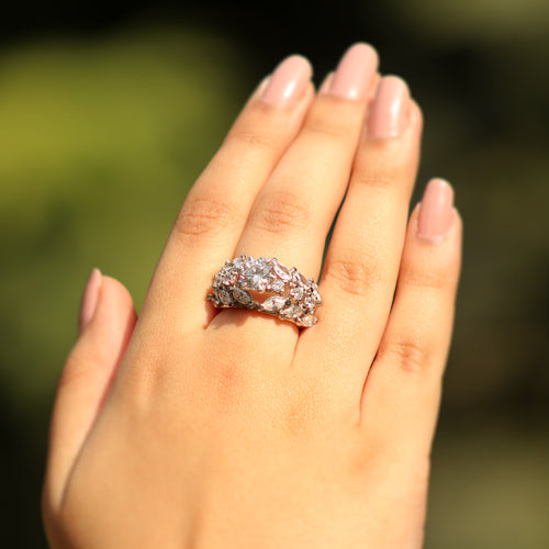 Empress Glam cubic zirconia solitaire ring to stand-out with that pretty little chic dress