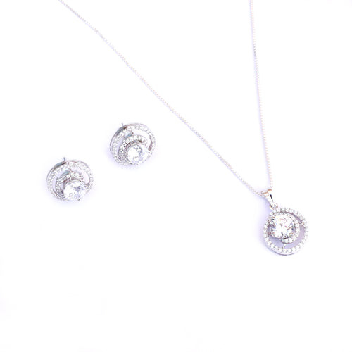 Enchanted Spiral Solitaire Silver Pendant Set is for the occasion you want to stand-out in style