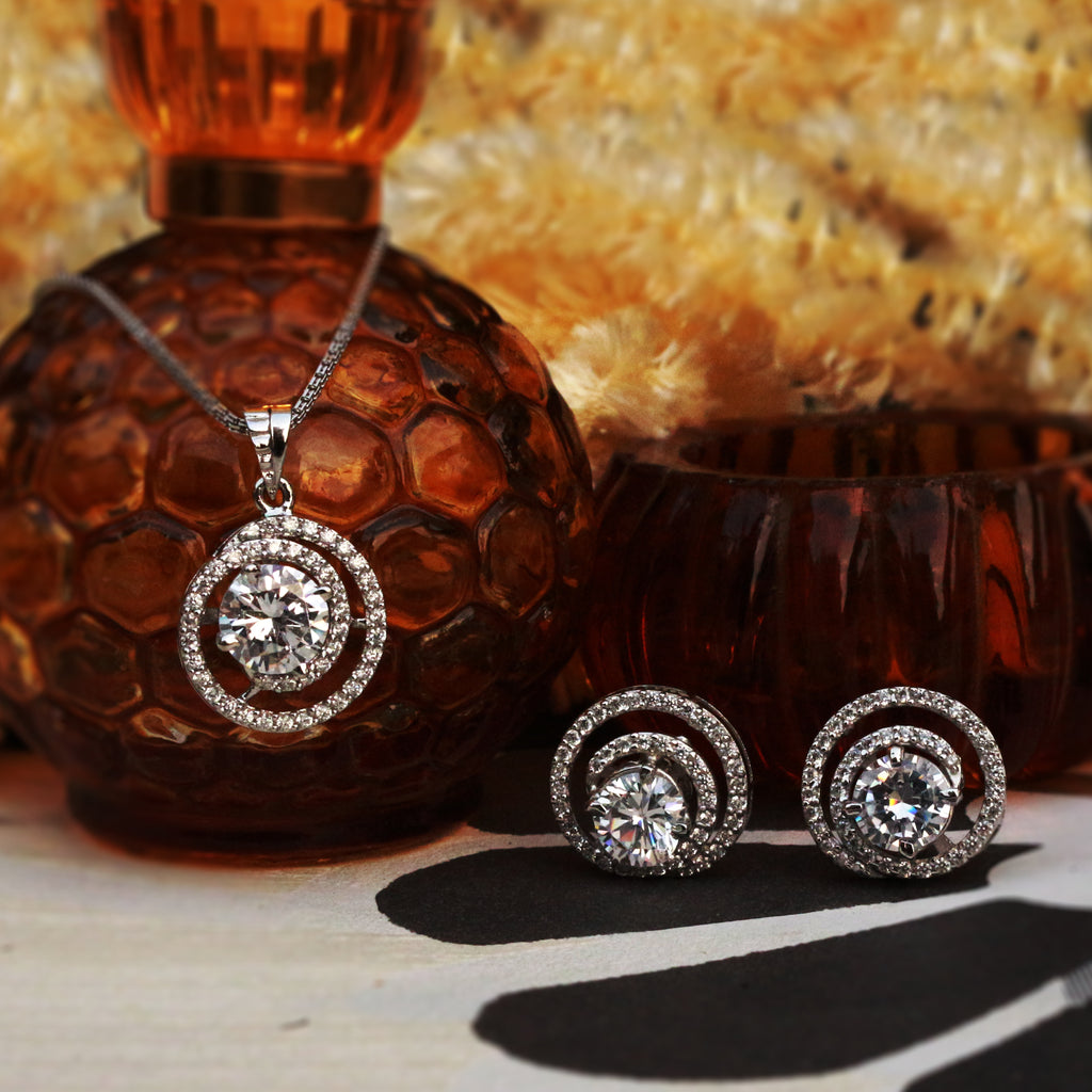Enchanted Spiral Solitaire Silver Pendant Set - Boldiful