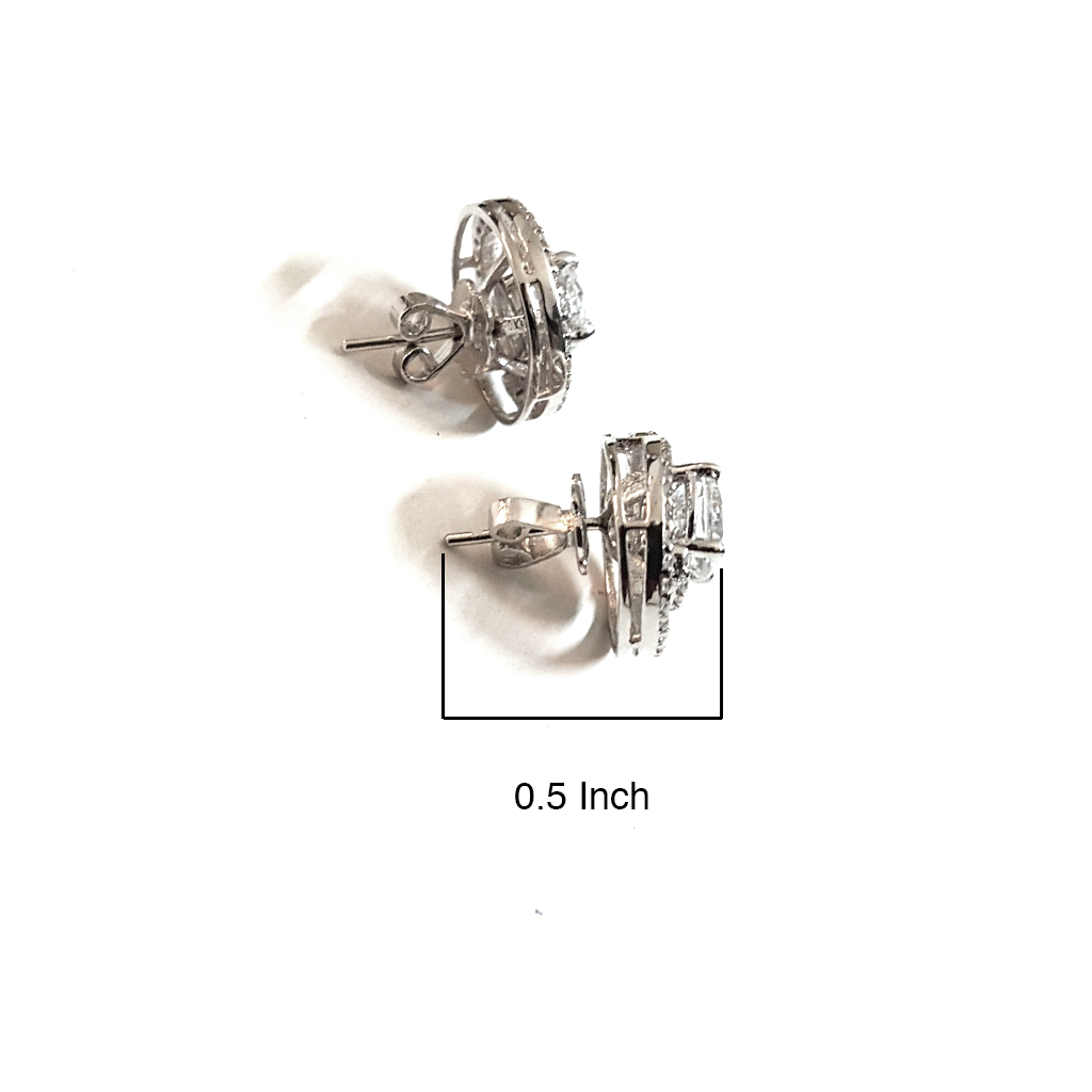Enchanted Spiral Zirconia Silver Ear Studs - Boldiful