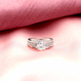 Engagement Zircon Solitaire 92.5 Silver Ring - Boldiful