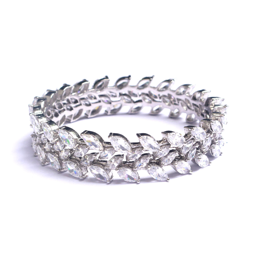 Entwine Marquise Cut Zirconia Silver Bangles set can be paired with Indian or western ensembles