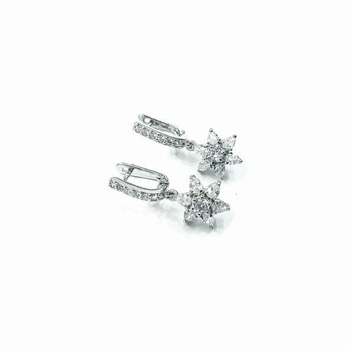 Flower drop medium size zircon earrings are made in 92.5 silver. Perfect for formal and casual look.