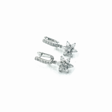 Flower Drop Zircon 92.5 Silver Earring