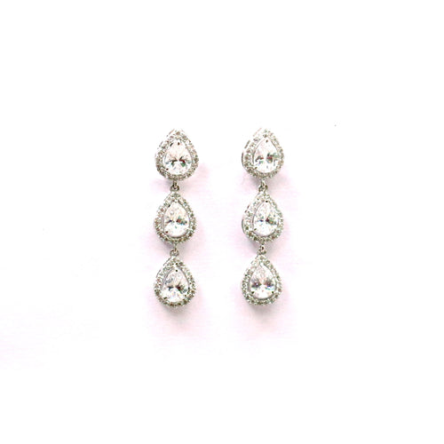 Gauzy Pear Halo Silver Earrings Drop