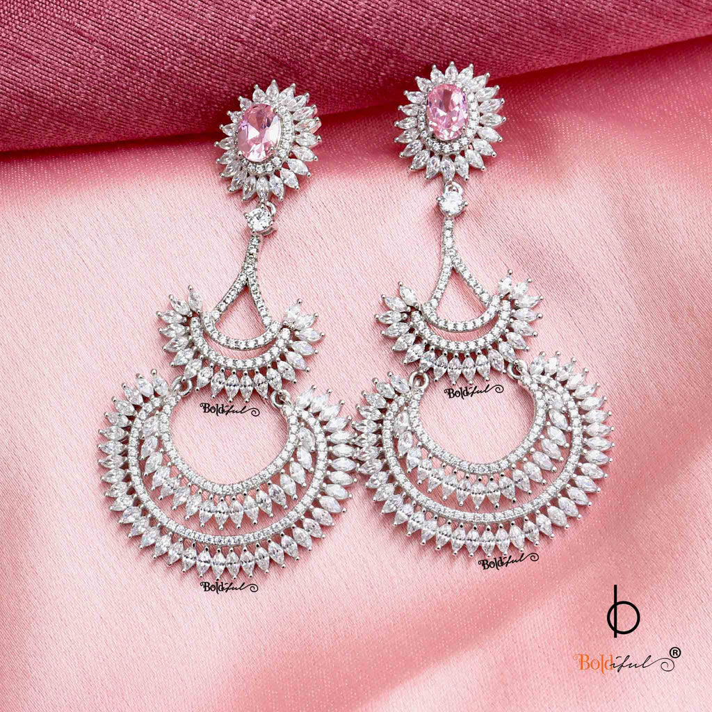 Glazed Long Chandelier Silver Earrings - Boldiful