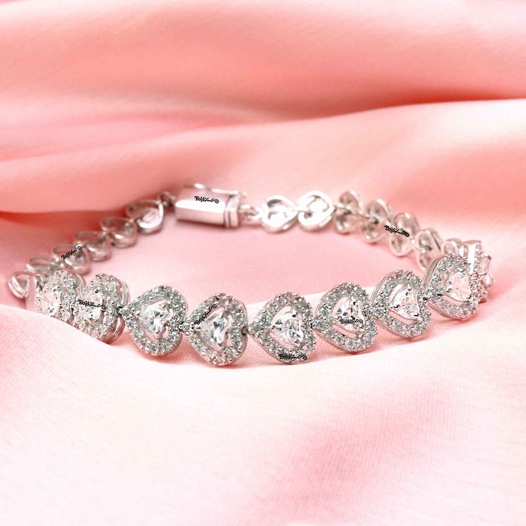 Heart Locker Sterling Silver Bracelet 925 - Boldiful