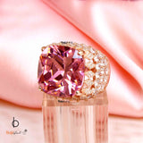 Iconic Pink Zirconia Cocktail Silver Ring - Boldiful