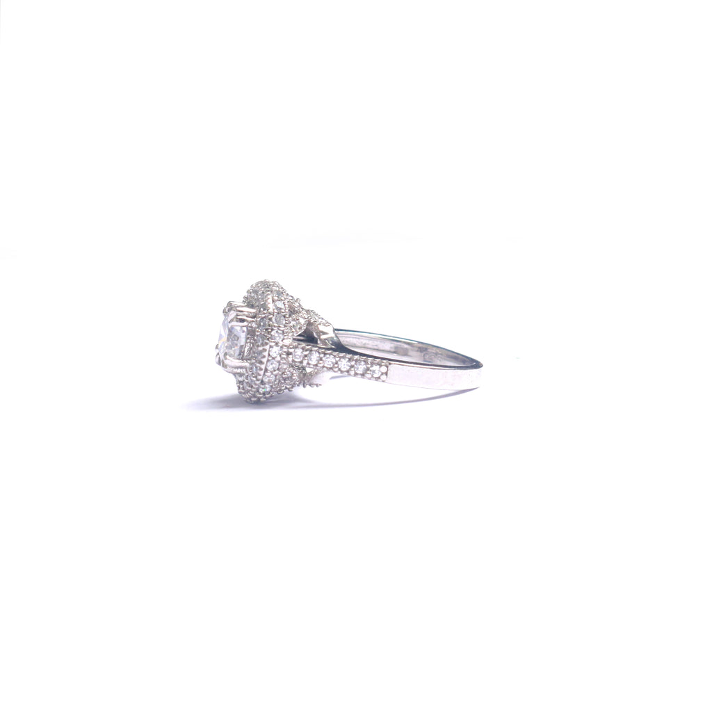 Imperial Silver Solitaire Zirconia Diamond Ring - Boldiful