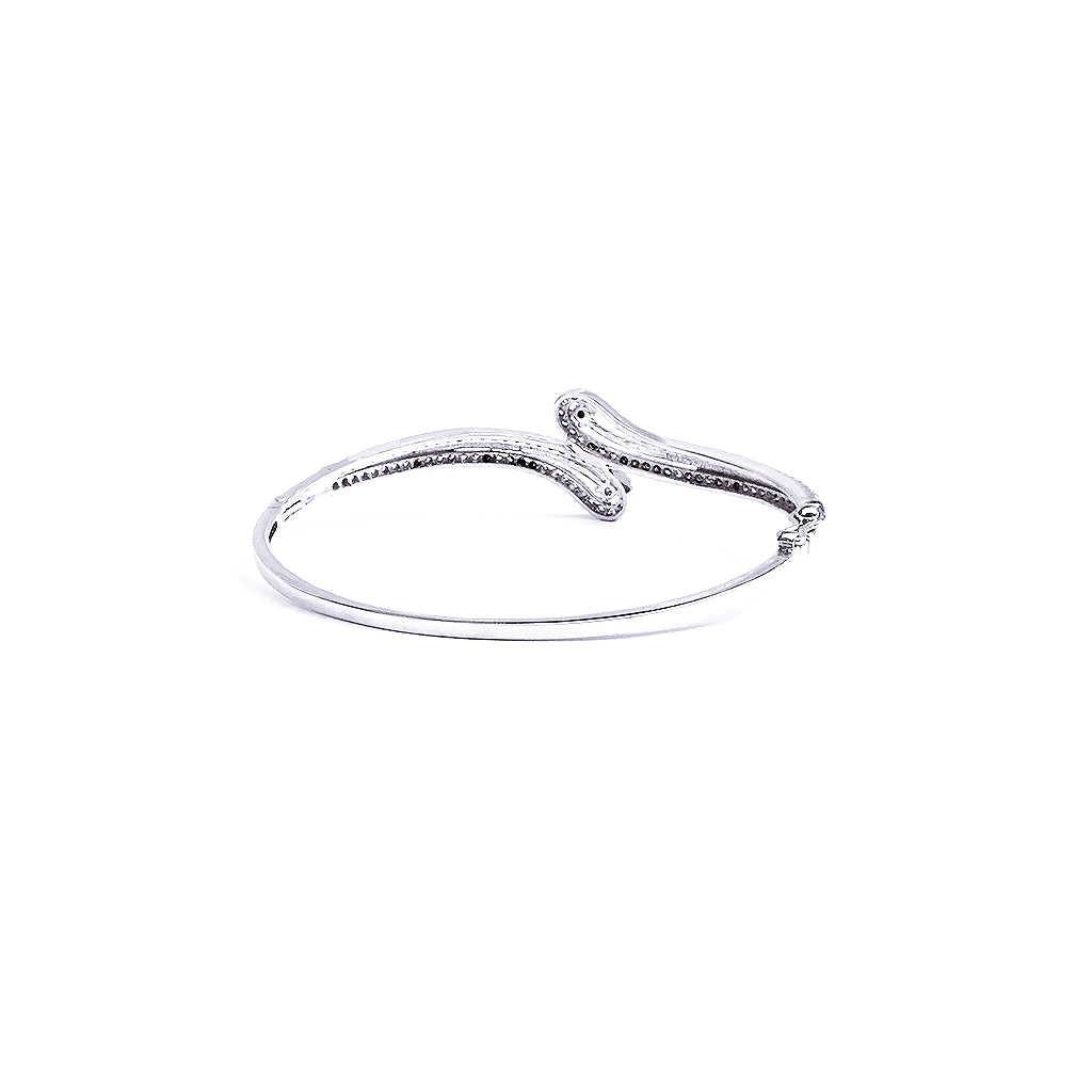 Love Touch Silver Bangle Bracelet - Boldiful