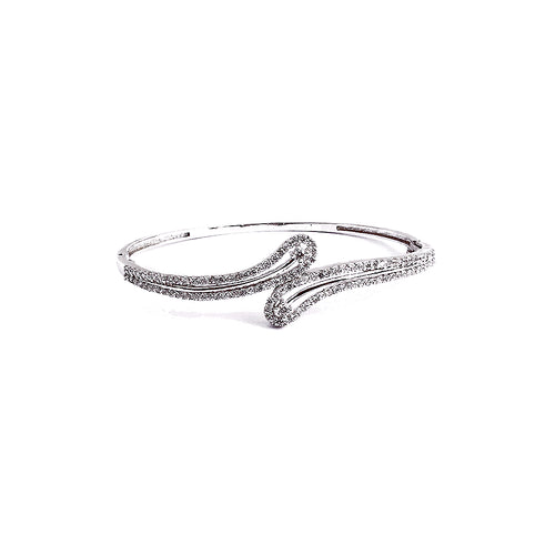 Beautiful & sleek bangle bracelet is made with fine cubic zirconia stones and 925 silver metal.