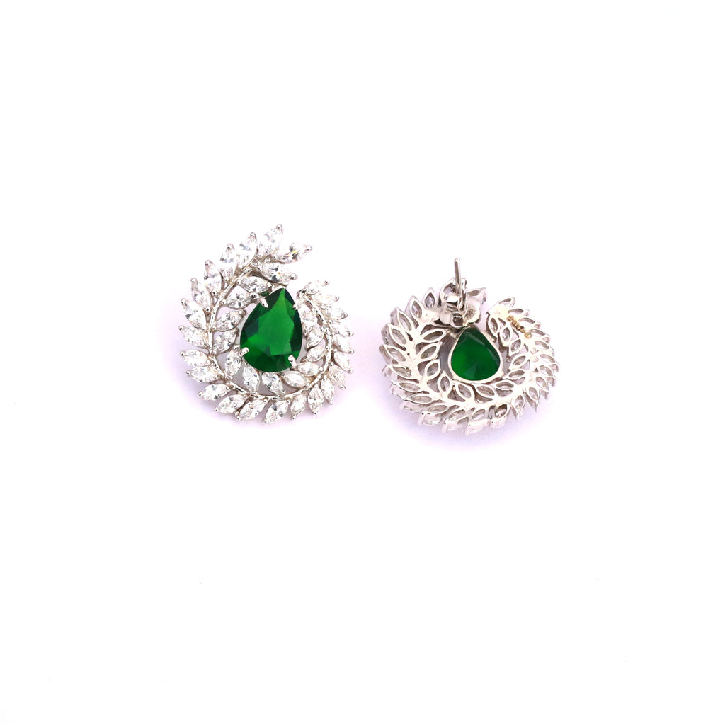 Majestic Zirconia Silver Earrings with Green Stone to add more royalty and sophistication to everything