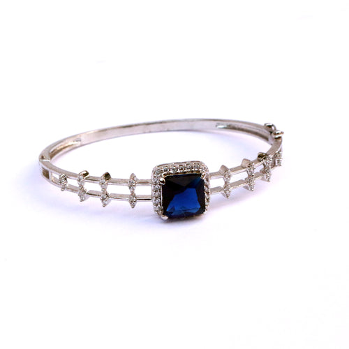 Midnight Blue Cubic Zirconia Silver Bracelet Bangle handcrafted delicately with premium quality gemstones & sterling silver